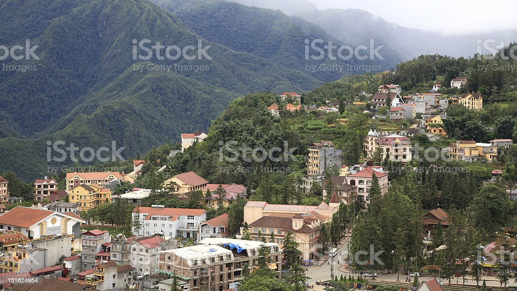Aerial view of Sapa city nested in green valley royalty-free stock photo