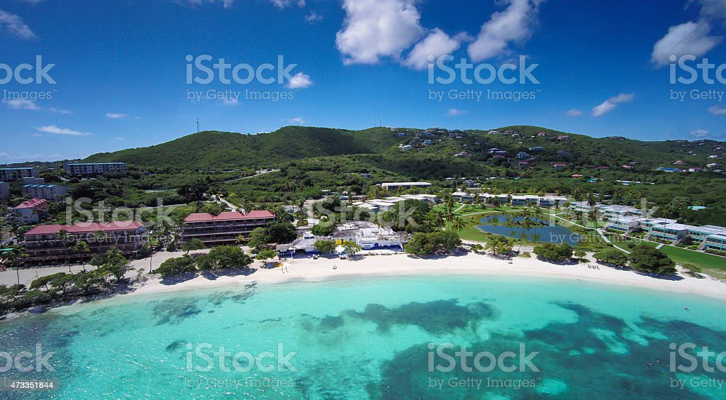aerial view of sapphire bay st thomas us virgin islands stock photo