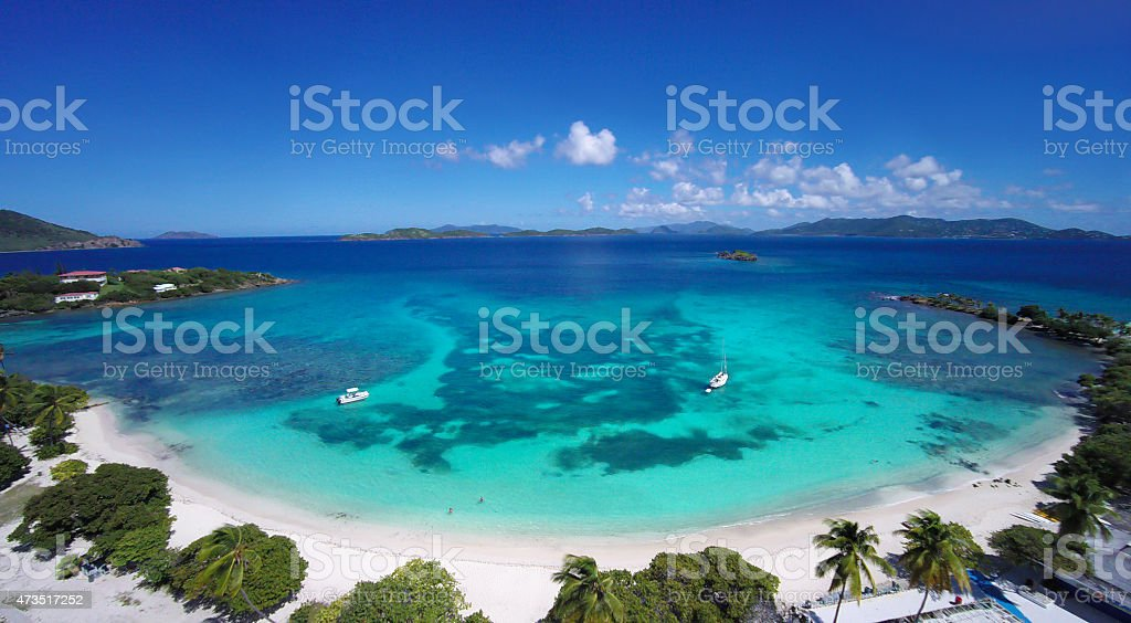 aerial view of Sapphire Bay, St. Thomas, US Virgin Islands stock photo