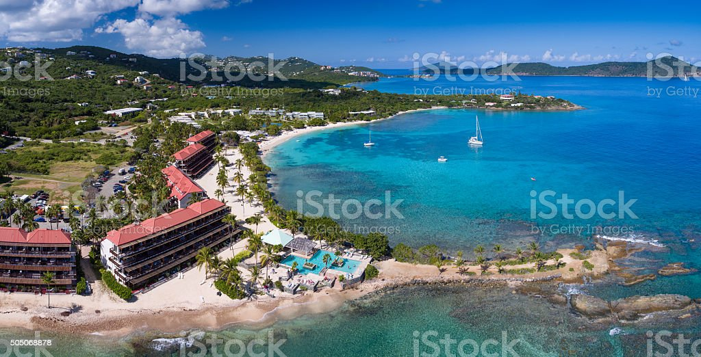 aerial view of Sapphire Bay, St.Thomas, US Virgin Islands stock photo