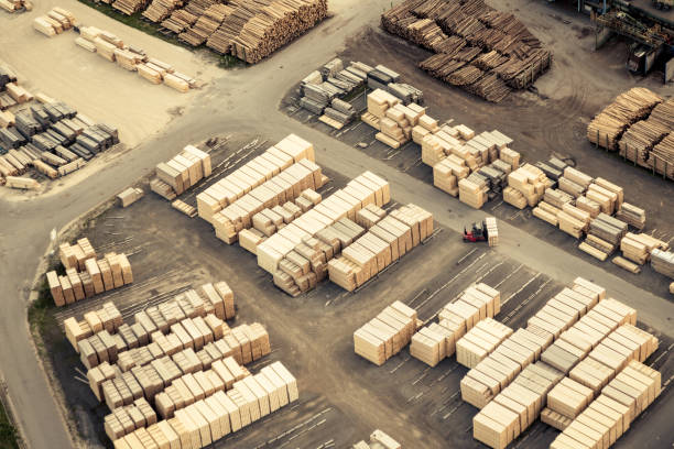 Aerial View of Sawmill stock photo