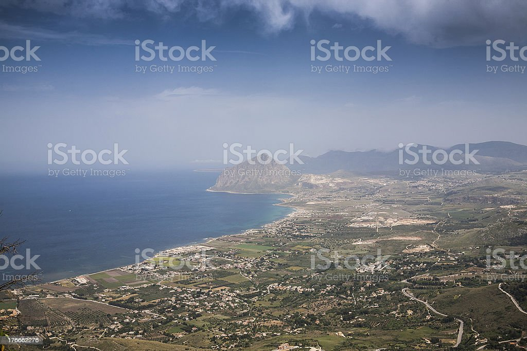aerial view of scenic green valley, Erice town, Sicily, Italy royalty-free stock photo