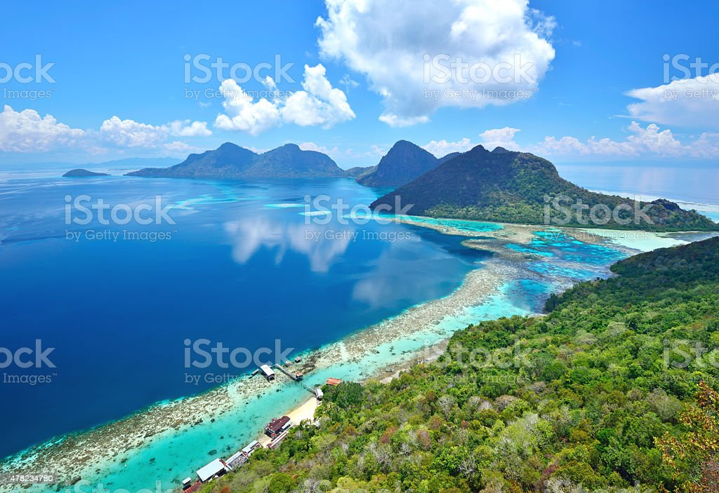 Aerial view of scenic tropical island, Bohey Dulang stock photo