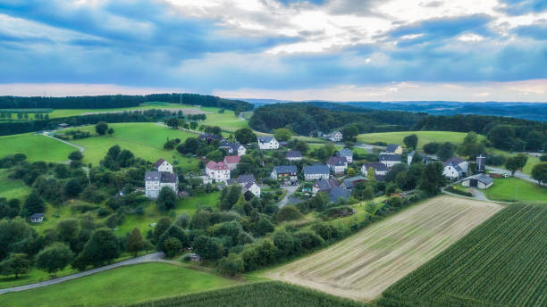 Aerial view of Schemmerhausen, a small village in the county of Reichshof in Germany.