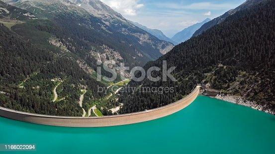 High up of Schlegeis Stausee dam, Austria.