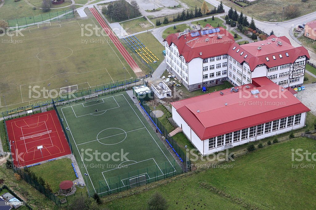 Aerial view of school stock photo