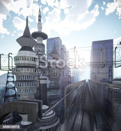 istock aerial view of Sci Fi City with clouds and sun 588609916