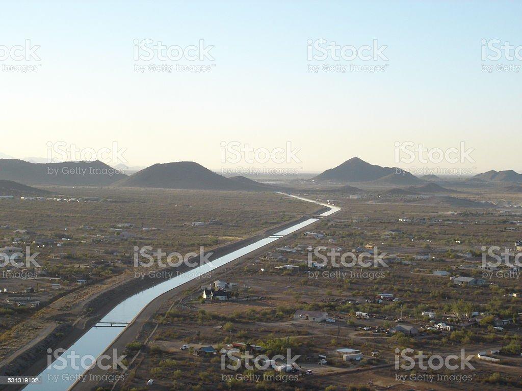 Aerial View of Scottsdale Arizona Canal stock photo