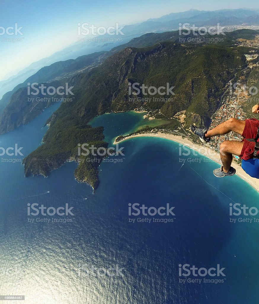 Aerial View Of Sea And Beach From Paragliding At Summer stock photo