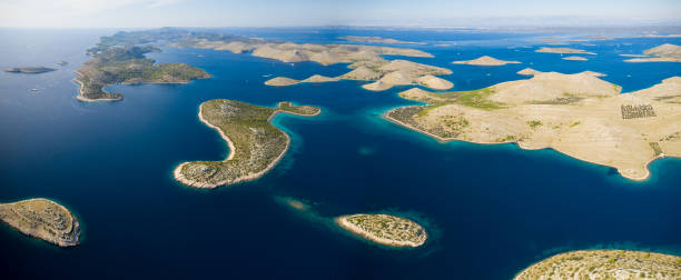 Aerial view of sea and small islands in Kornati national park stock photo