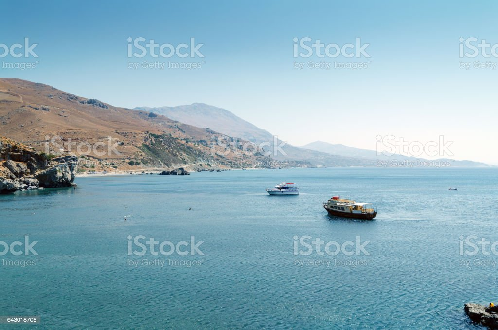 Aerial view of sea bay of Preveli on Crete island stock photo