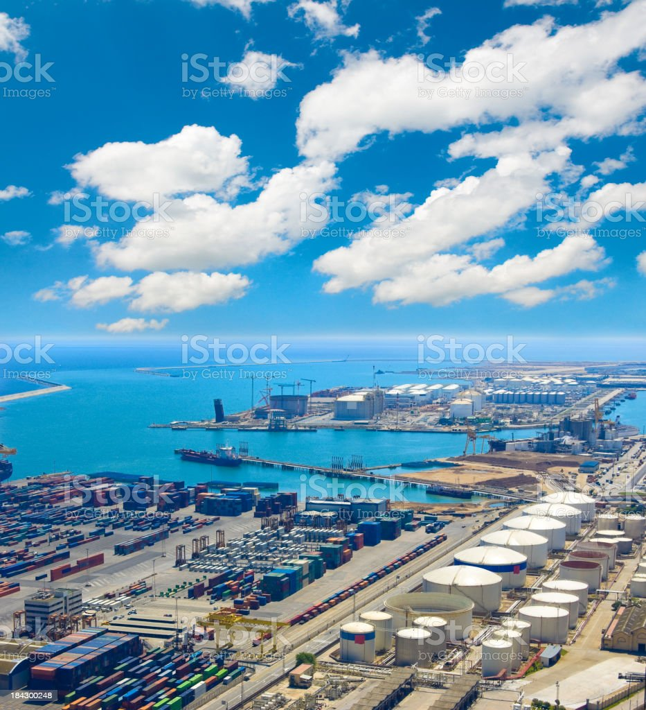 Aerial View of Sea Industrial Area royalty-free stock photo