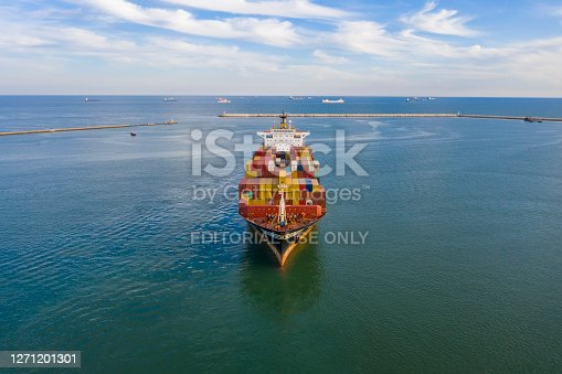 Aerial view of container ship MSC ANAHITA arriving an international port in Turkey. May 26, 2020