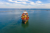 istock Aerial view of sea transportation of MSC container ship. 1271201301