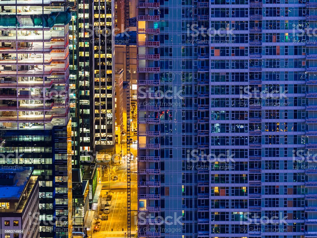 aerial view of Seattle downtown stock photo