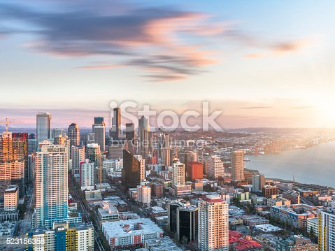 istock aerial view of Seattle skyline 523156358