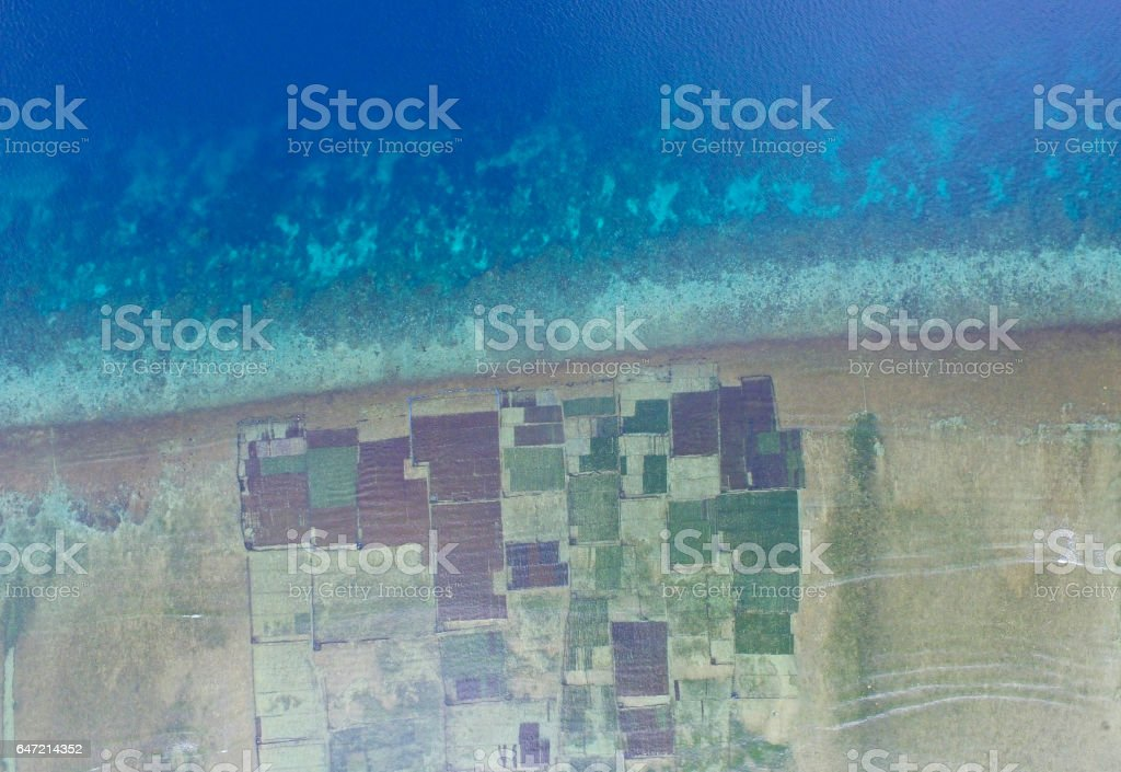 Aerial view of seaweed farm stock photo