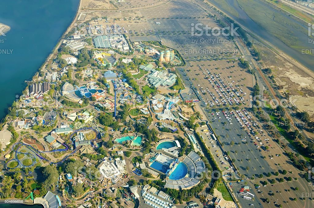 Aerial view of Seaworld, San Diego stock photo