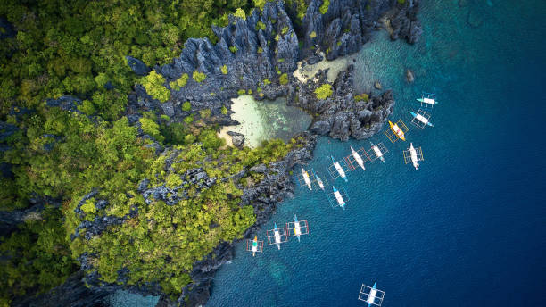 Aerial view of Secret Beach, Palawan, Philippines stock photo