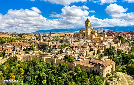 istock Aerial view of Segovia with the Cathedral in Spain 1278588468