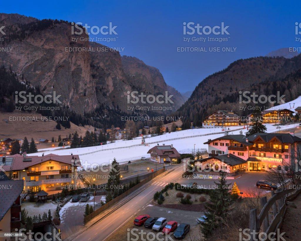 Aerial View of Selva Val Gardena in the Evening, Val Gardena, Dolomites, Italy stock photo