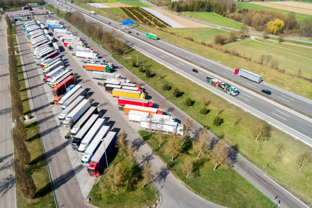 Aerial View of Semi Trucks at Highway Truck Stop stock photo