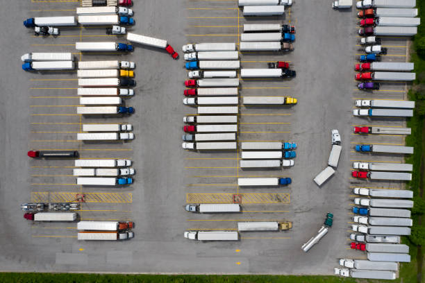 Aerial View of Semi Trucks at Truck Stop stock photo