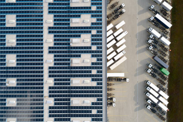 Aerial View of Semi Trucks at Warehouse stock photo