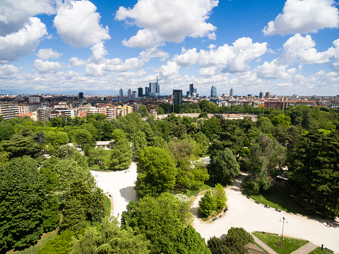 Aerial view of Sempione park in Milan, Italy