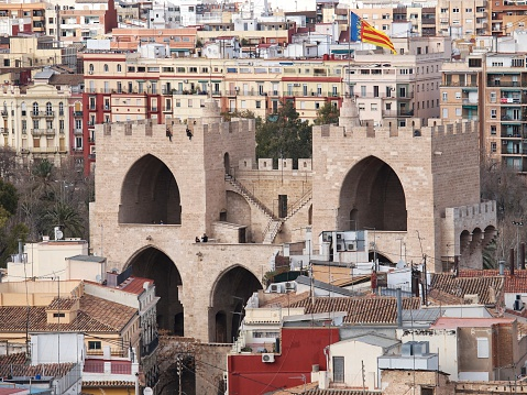 Aerial view of Serranos Gate or Serranows Towers