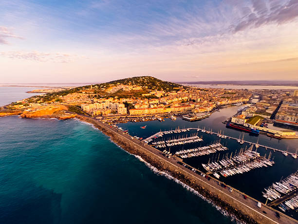 aerial view of sete, france stock photo