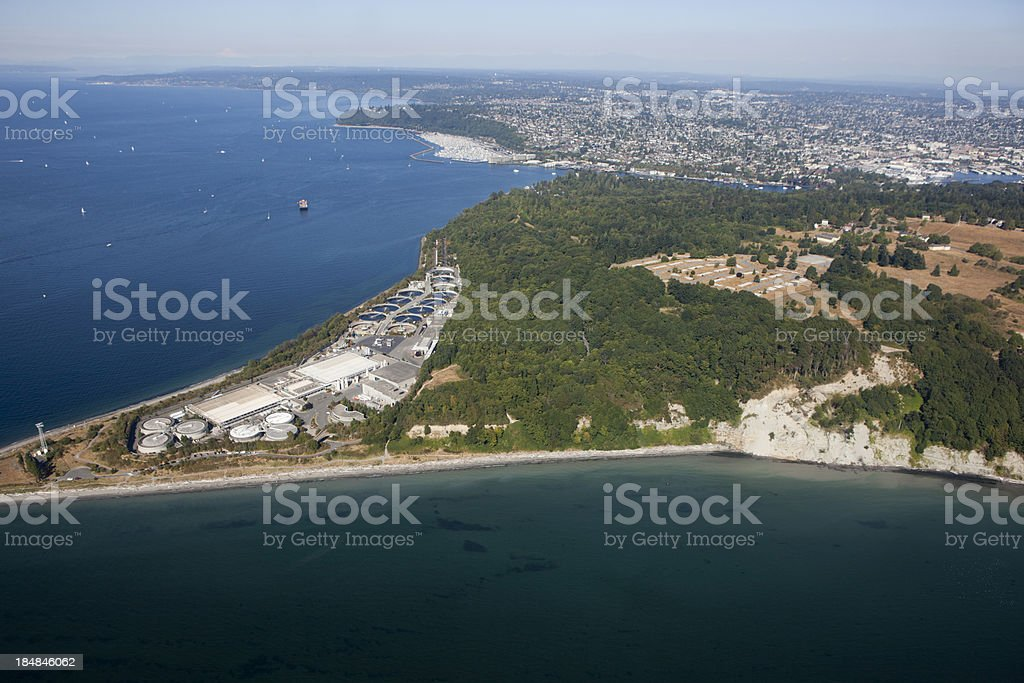 Aerial View of Sewage Treatment Facility next to Forest stock photo