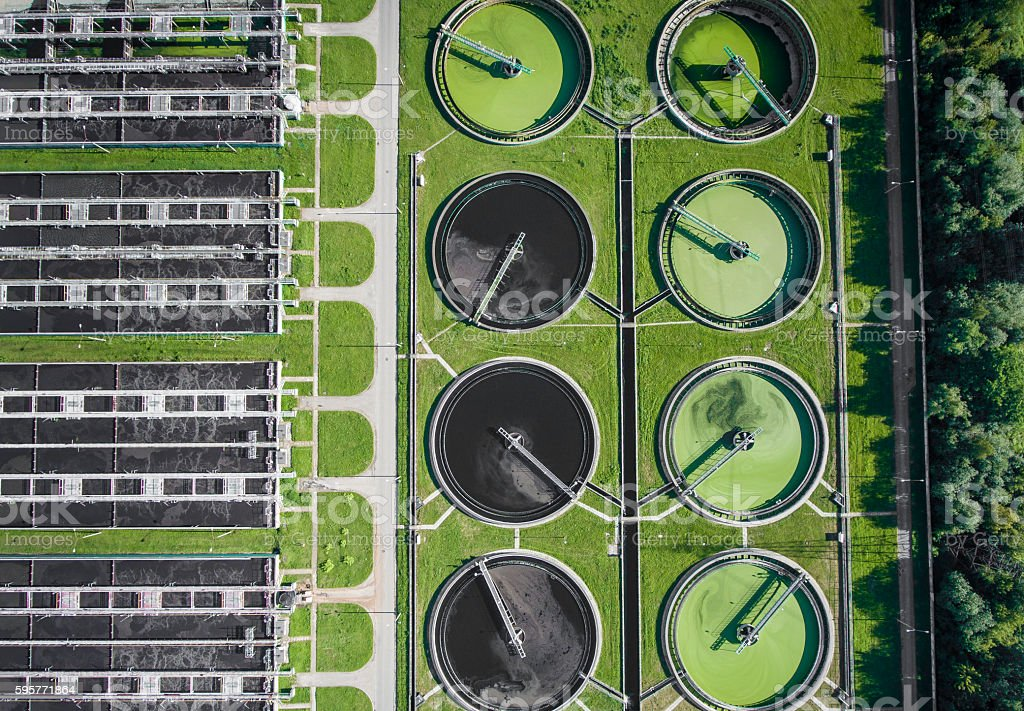 Aerial view of sewage treatment plant in Poland. stock photo