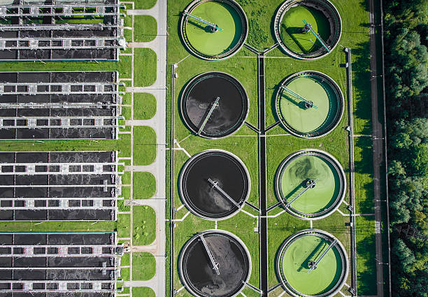 Aerial view of sewage treatment plant in Poland. - foto de stock