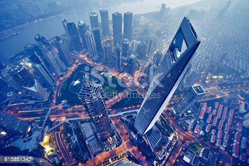 istock aerial view of shanghai at night 615881342