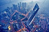 空から見た上海の夜景
