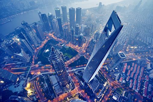 Luftbild Von Shanghai Bei Nacht Stockfoto und mehr Bilder von Ansicht von oben