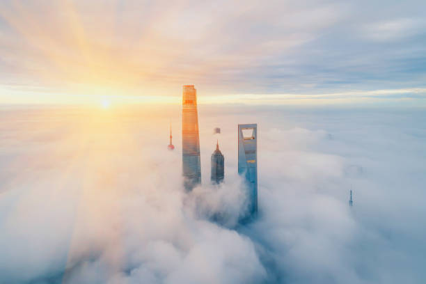Aerial View Of Shanghai at sunrise Aerial View Of Shanghai at sunrise shanghai stock pictures, royalty-free photos & images