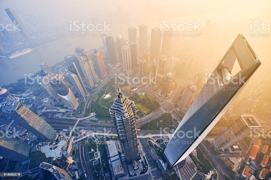 aerial view of shanghai at sunrise – Foto