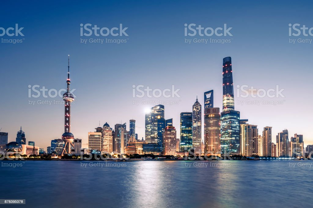 Aerial view of shanghai at sunrise stock photo