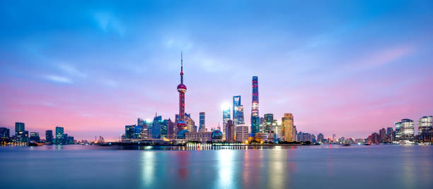 Aerial view of shanghai at sunrise Shanghai, China - East Asia, Cityscape, City, Asia huangpu river stock pictures, royalty-free photos & images