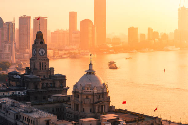 Aerial view of shanghai at sunrise Building Exterior, China - East Asia, City, Dusk, East China the bund stock pictures, royalty-free photos & images