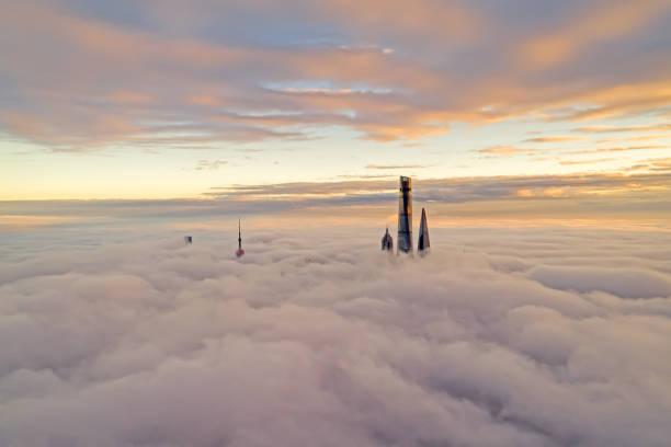 Aerial View Of Shanghai bei Sonnenuntergang – Foto