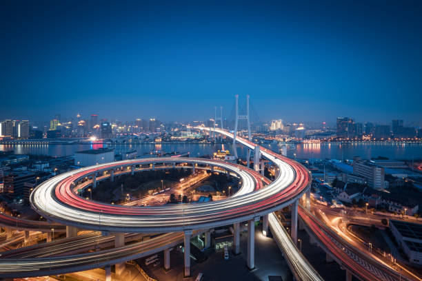 Aerial view of Shanghai Bridge at Night Bridge - Built Structure, Built Structure, Asia, China - East Asia, Nanpu Bridge elevated road stock pictures, royalty-free photos & images