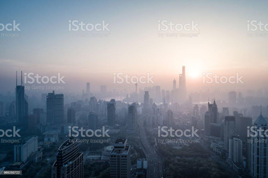 aerial view of shanghai city in foggy dawn zbiór zdjęć royalty-free