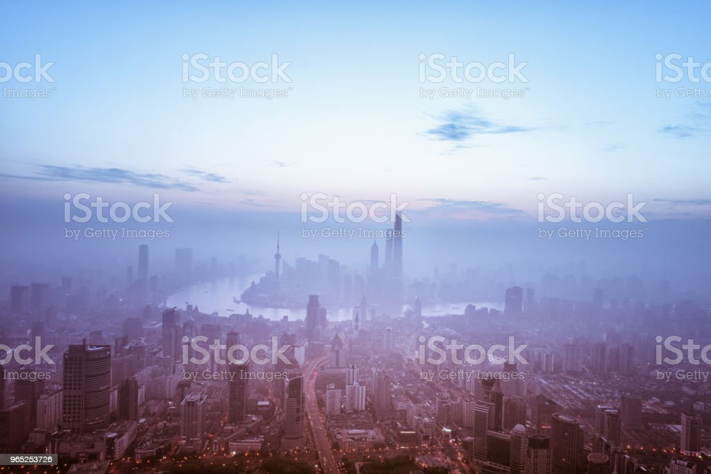 aerial view of shanghai city in foggy dawn royalty-free stock photo
