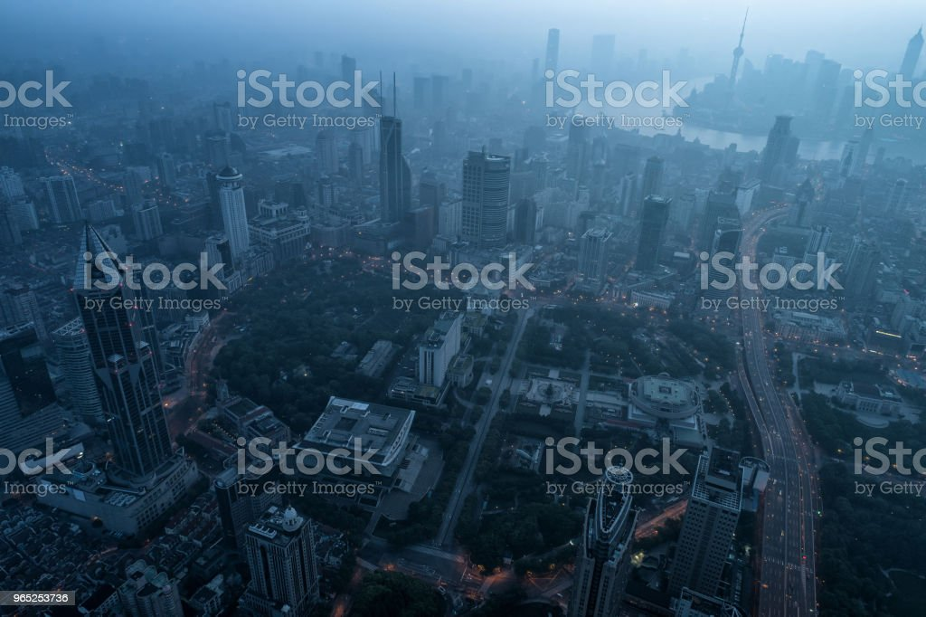 aerial view of shanghai city in foggy dawn zbiór zdjęć royalty-free