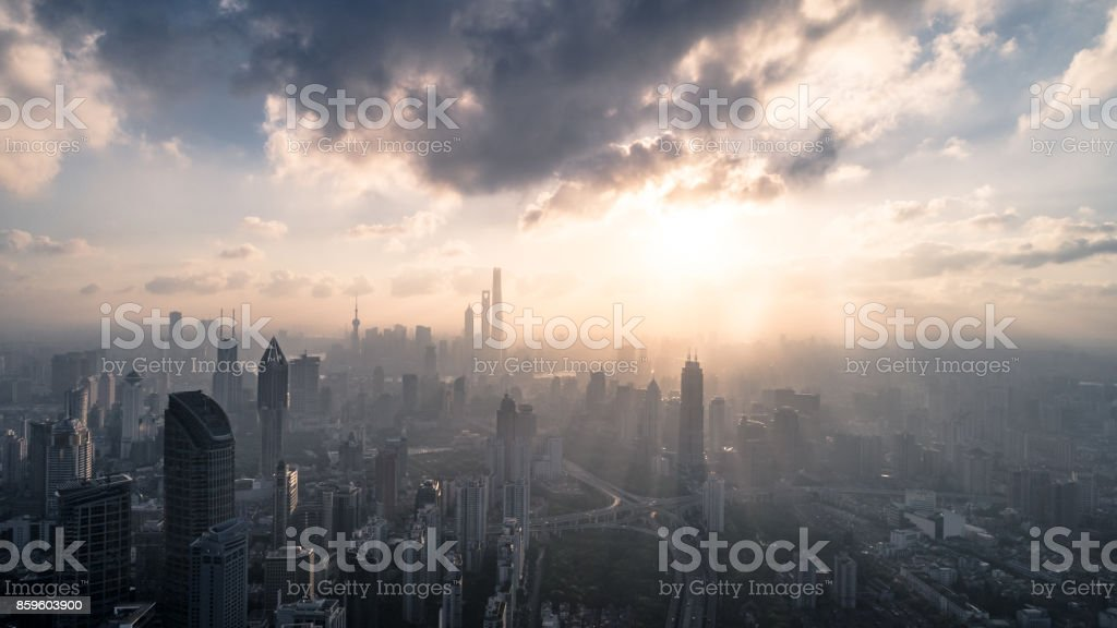 Aerial View of Shanghai city in the morning stock photo