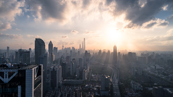 Aerial View of Shanghai city in the morning