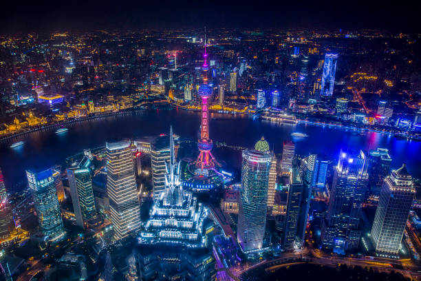 Aerial View of Shanghai Cityscape at Night Aerial View of Shanghai Cityscape at Night pudong stock pictures, royalty-free photos & images